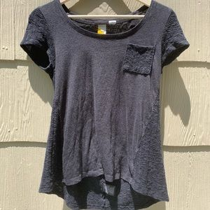 Anthropologie Paper Locket | Gray Tee | Small S